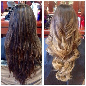 Before Pic Is Partial Highlights That Were Done By Heather In November After Pic Is Ombre And Yelp Balayage Hair Hair Hair Styles