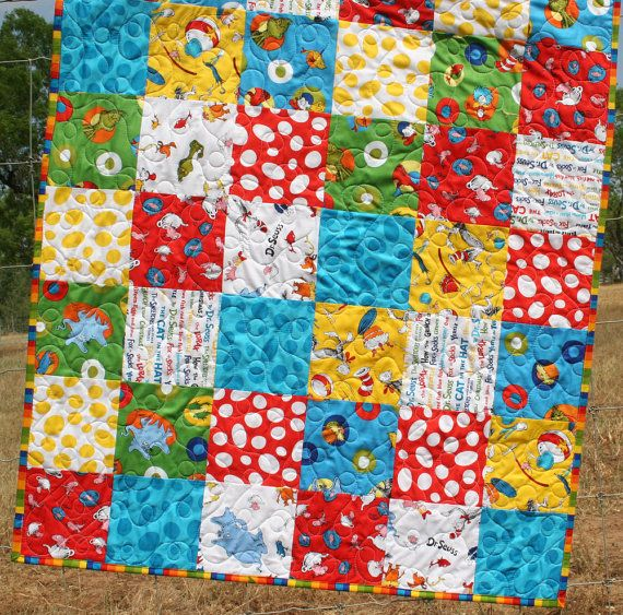 Dr Seuss Baby Quilt by SunnysideDesigns2 on Etsy, $149.00 | 1st ... : dr suess quilt - Adamdwight.com