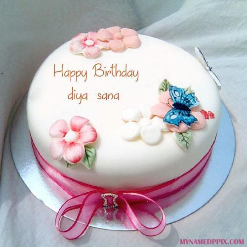 Birthday Wishes Beautiful Name Writing Cake Blue and White