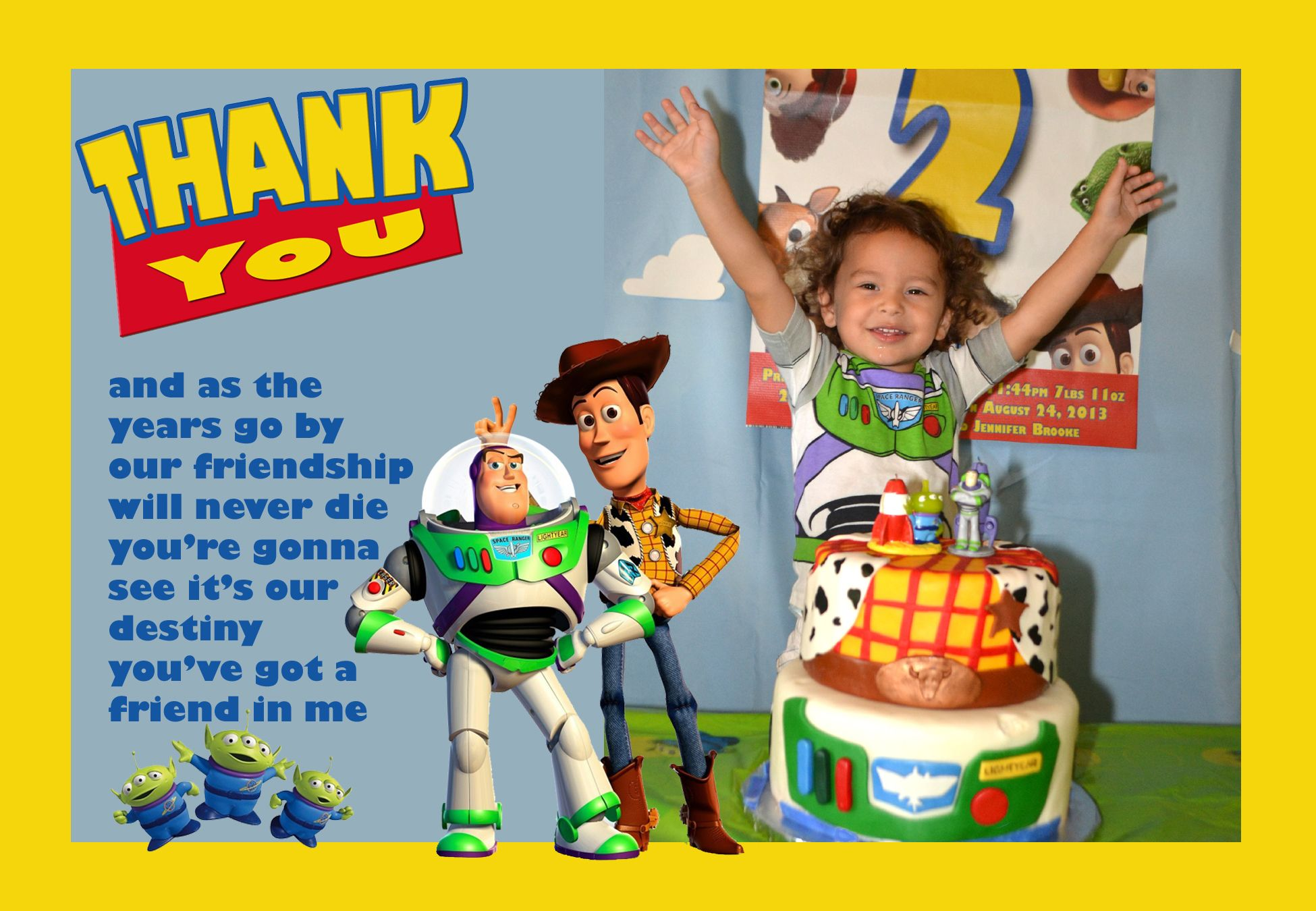 Toy Story Birthday Party Thank You Cards You Can Also Find These On My Etsy Store Miawithluv Toy Story Birthday Party Toy Story Birthday I Party