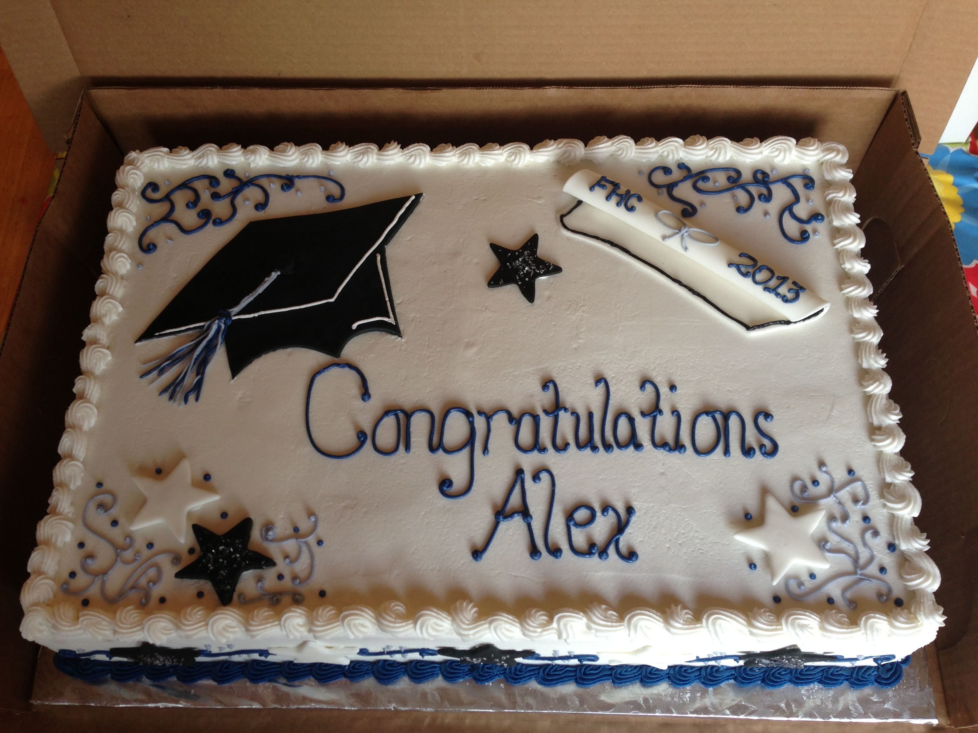 Graduation Full Sheet Cake With Strawberry Filling With Images