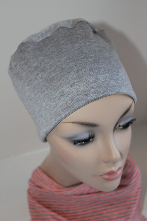 Chemo Hat Cancer Cap Sleep Gray Soft Jersey Knit Alopecia Sleep