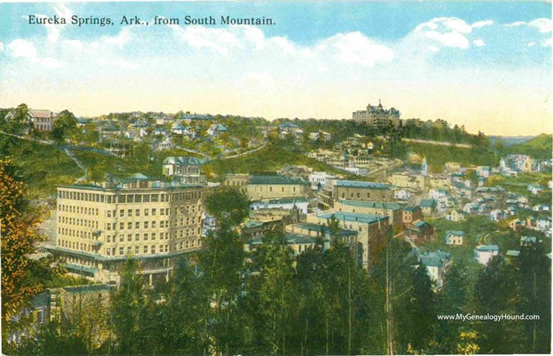 Eureka Springs, Arkansas from South Mountain, vintage ...