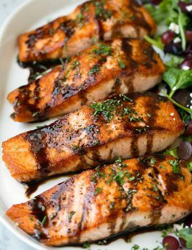 Balsamic Glazed Salmon (Homemade Balsamic Glaze!) - Cooking Classy