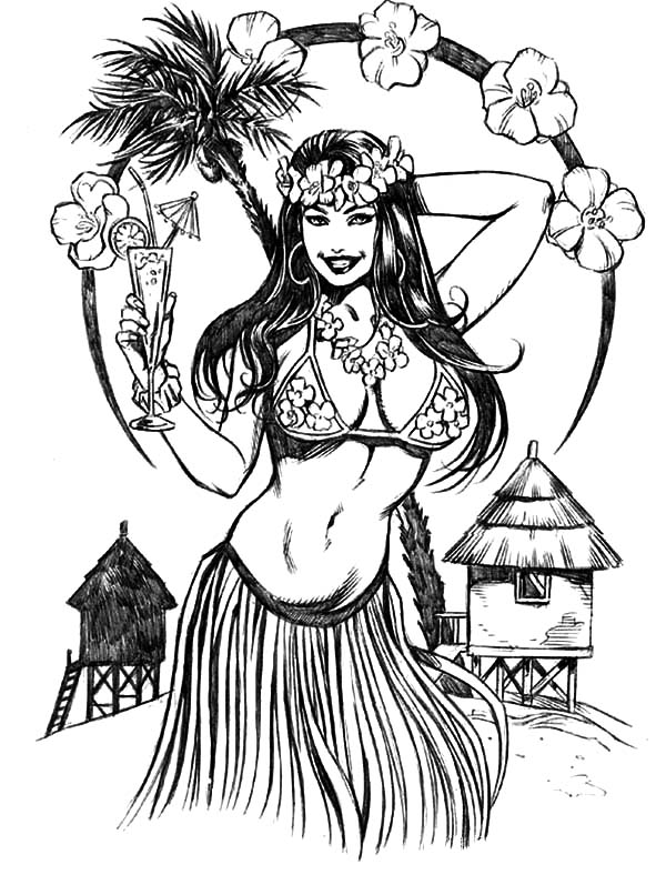 Beautiful Hula Girl Coloring Pages Coloring Sky Hula Girl Tattoos Girl Drawing Images Coloring Pages For Girls