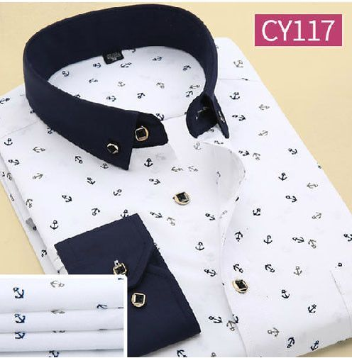 Men Long Sleeve Patchwork Printed Casual Shirts Camisa Cotton Single Breasted Double Collar Shirts Vestido
