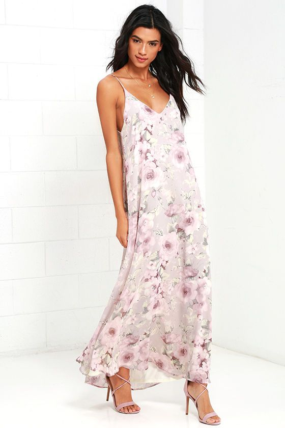 arm holes cut WAY too long.  other htan that it's lovely. Mist Taupe Floral Print Maxi Dress at Lulus.com!