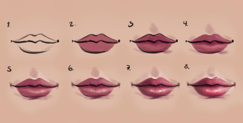 Semi Realism Lips Step By Step Semi Realism Lips Drawing Cool Drawings
