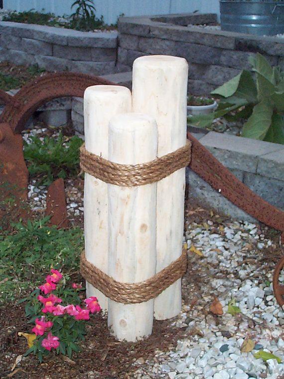 Nautical Piling Or Pier Lawn Ornament Cedar Wooden Yard Decoration
