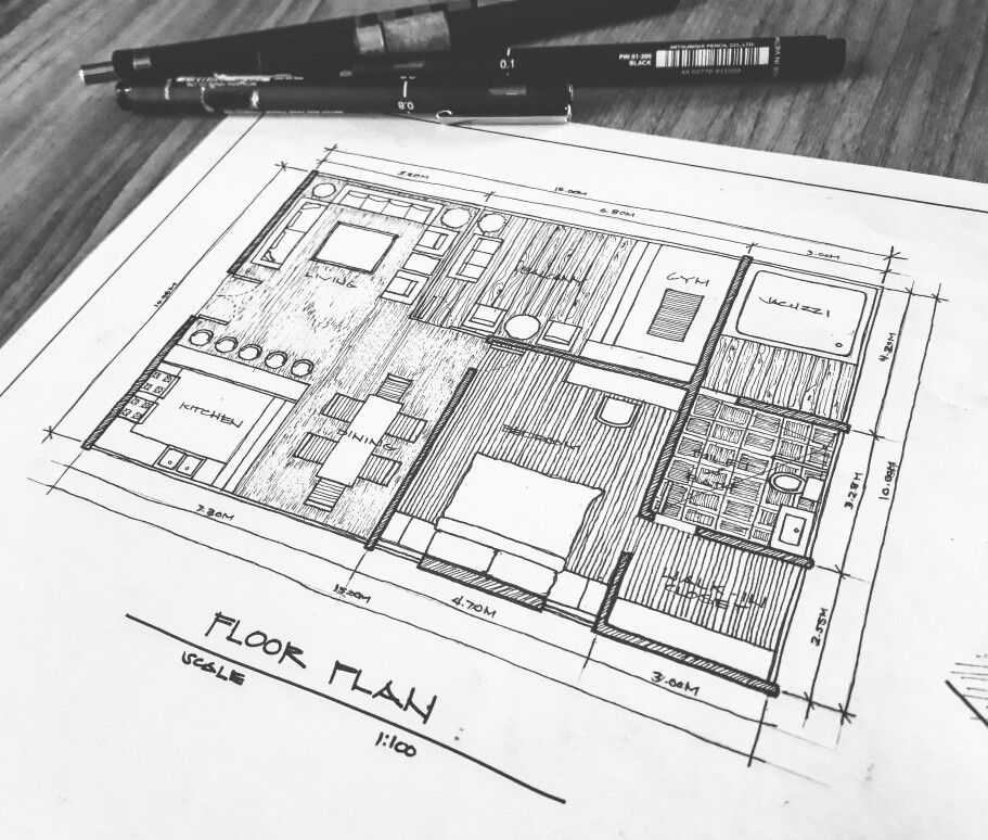 Freehand Floor Plan Architecture Architecture Floor Plans Plan