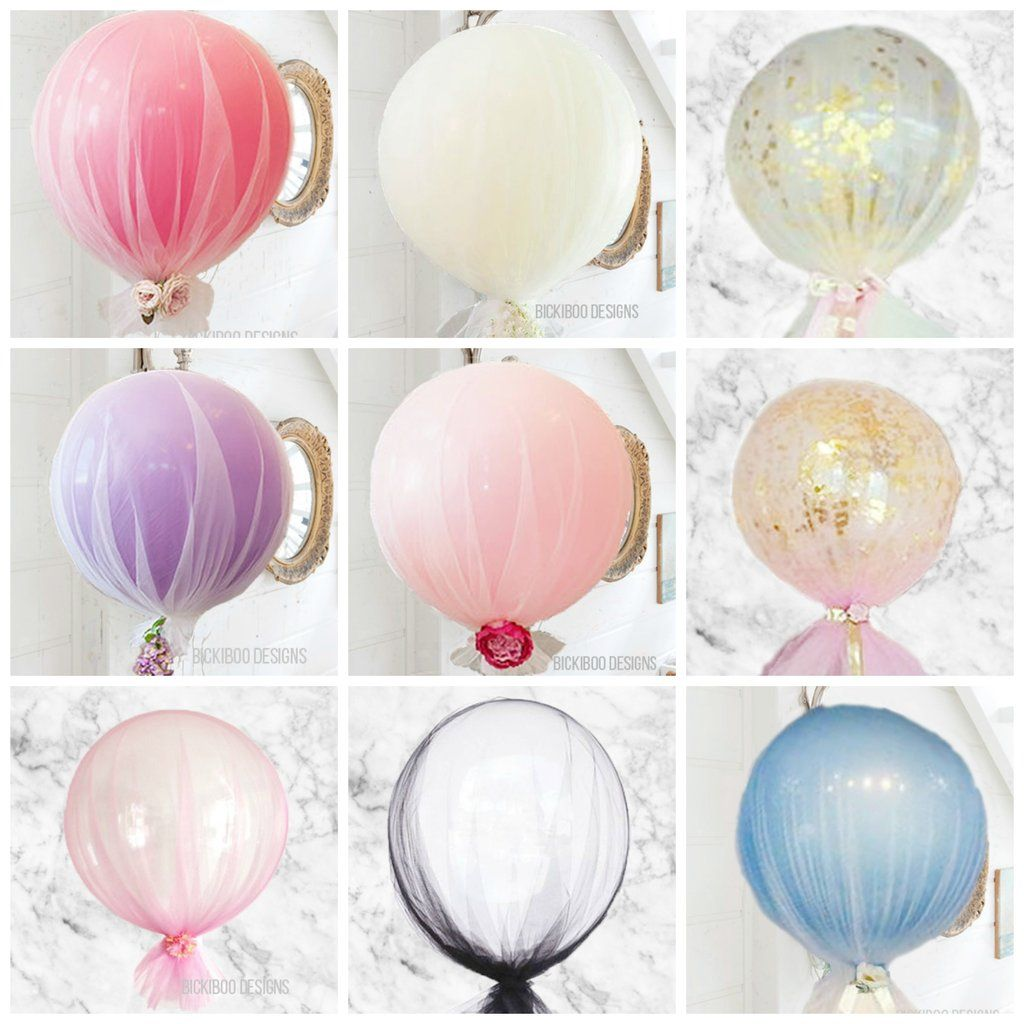 Tulle balloons tulle balloons birthdays and prom decor for Balloon nets for centerpieces