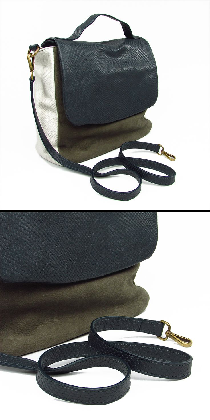 620e62b108 Borsa rettangolare. PATTINA e tracolla in pelle con stampa tipo RETTILE.