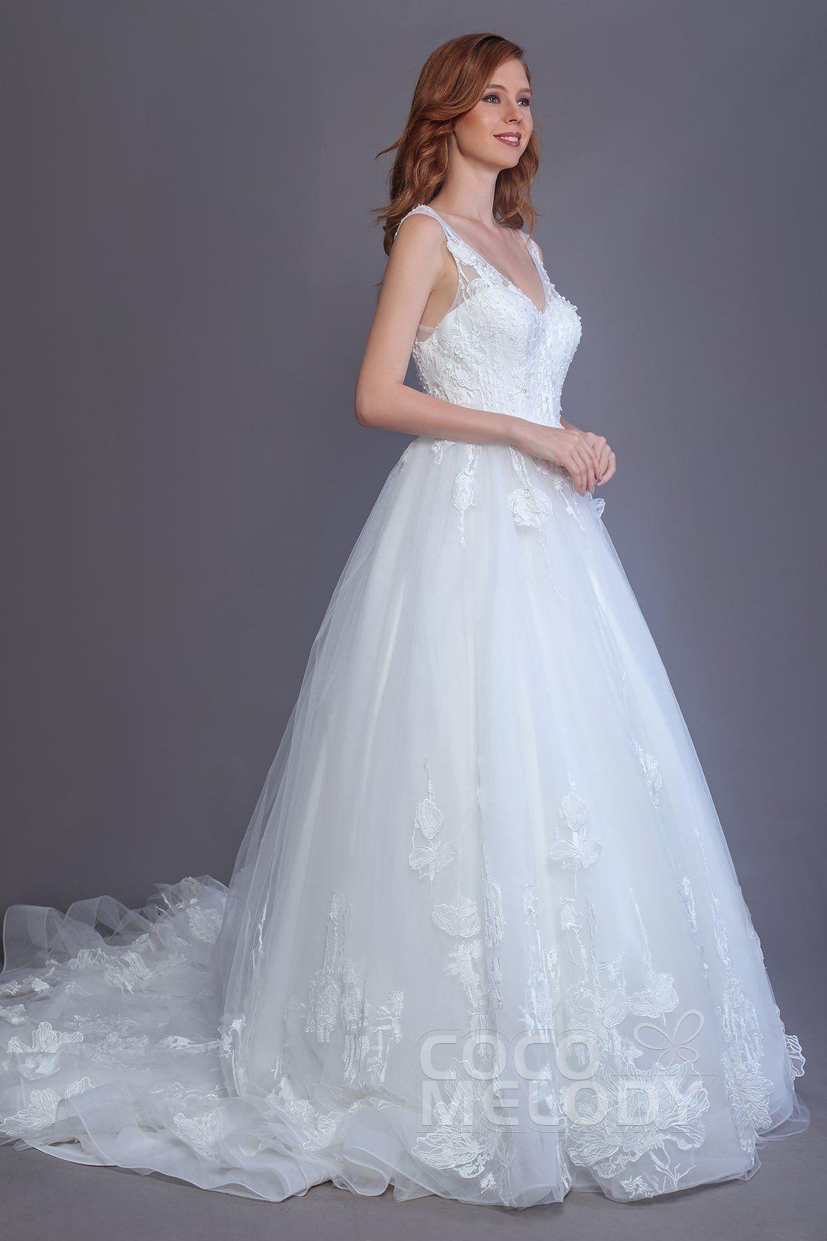 Princess Chapel Train Tulle Lace and Organza Wedding Dress LD5716 ...
