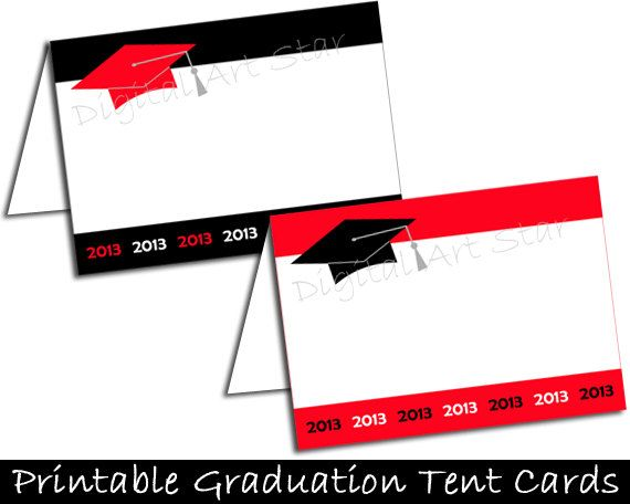 Graduation DIY Printable Place Cards Tent Cards by digitalartstar ...