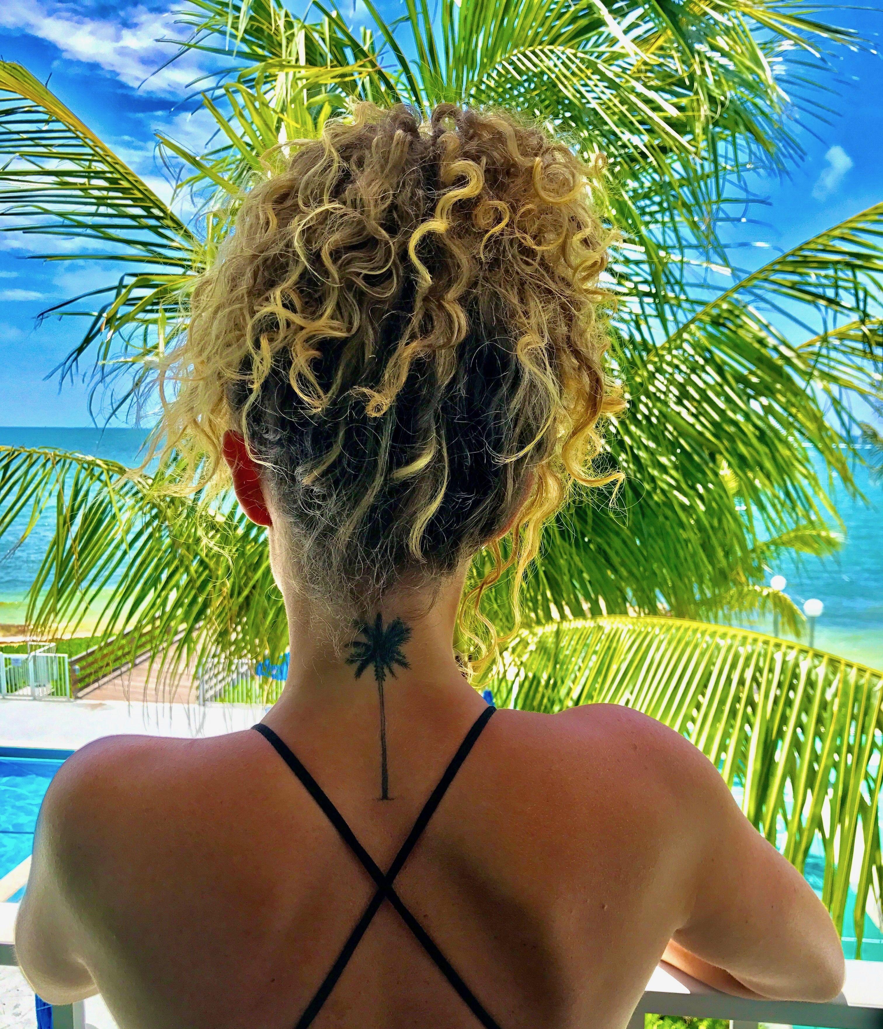 Palm tree back of the neck tattoo tattoosonback back of
