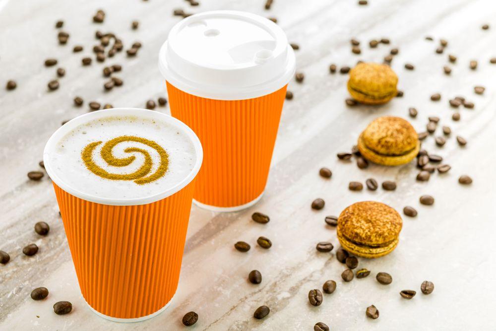 12 oz tangerine orange paper coffee cup ripple wall 3