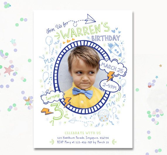 Birthday invite Boy invitation illustrative boys by MotifVisuals
