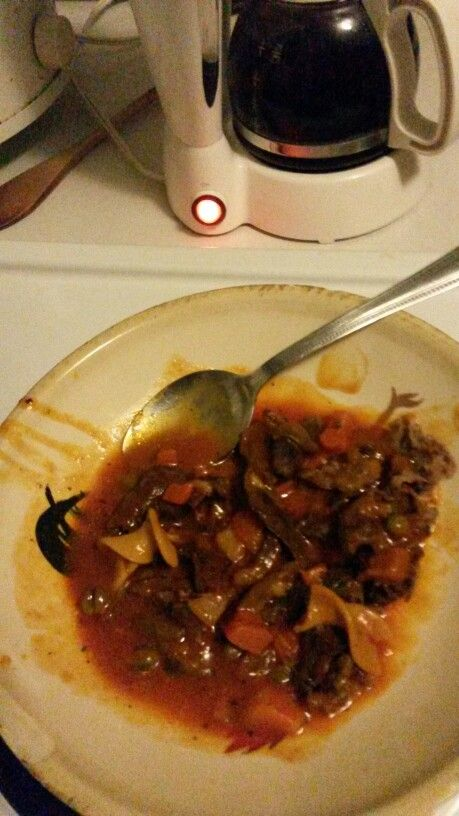 """A Simple Bowl Of """" CAMPBELL'S VEGETABLE SOUP """" And COOKED DEER - MEAT ...Combined Together ... Just Something To Eat ...I'm Not A  Vegetarian -Folks !!!"""