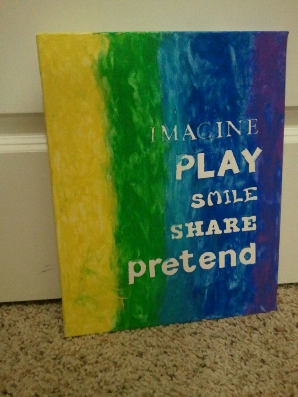 """My son and I made this together a few weeks ago, got the idea on Pinterest but came up with our own words that were appropriate for our play room. We used different sized-stickers on canvas and then I let him finger paint his little heart out.  Had a little trouble with a few of the stickers """"sticking"""" and therefore we got paint in what should be the """"white"""" areas, but for the most part we are happy with how it turned out!"""