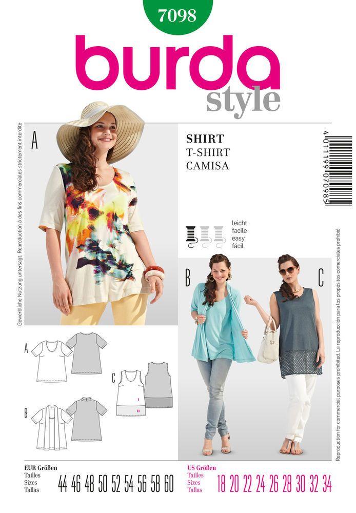 Burda Ladies Easy Sewing Pattern 7098 - T-Shirt & Tops Plus Sizes ...