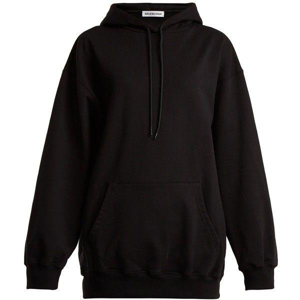 3a8ebd0c2a4a Balenciaga Logo-print cotton hooded sweatshirt (10.955.105 IDR) ❤ liked on  Polyvore featuring tops