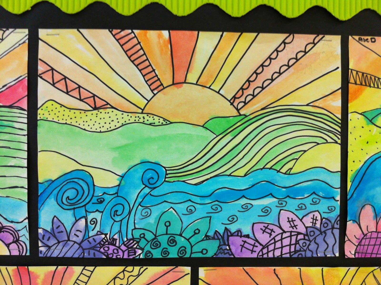 Apex elementary art landscapes great sample for a stained for Landscape art projects
