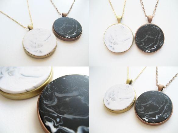 DiY Faux Marble Pendants | Adorablest