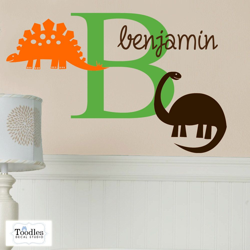 DINOSAUR I Initial Name Monogram Vinyl Wall By ToodlesDecalStudio - Monogram vinyl wall decals for boys