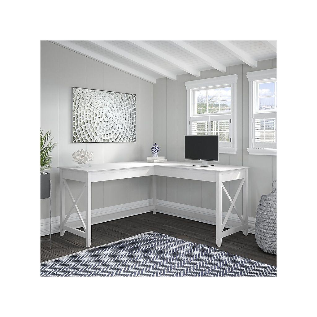 Bush Furniture Key West 60 W L Shaped Desk Pure White Oak Kwd160wt 03 At Staples In 2020 Home Office Design L Shaped Desk Bush Furniture