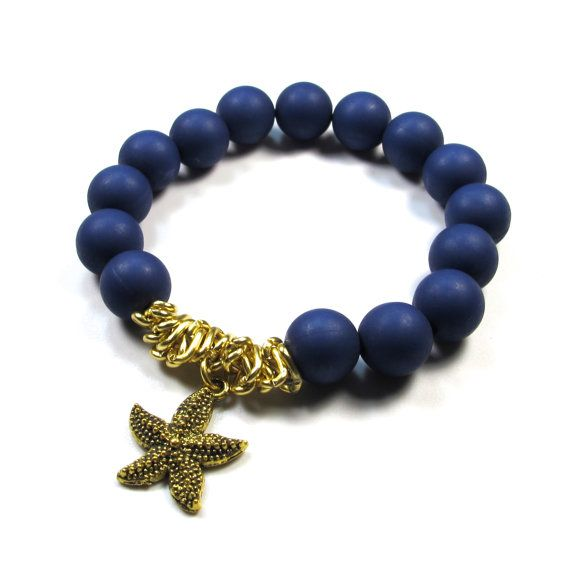 Frosted-dark-blue-chain-starfish-charm