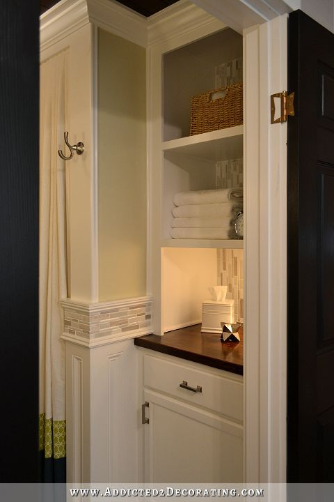 Images Photos bathroom remodel original linen closet replaced with closed lower and open shelved display cabinet See side by side before u after photos