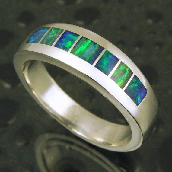 Handmade Australian Opal Ring In Sterling Silver By Mark Etsy Australian Opal Ring Opal Rings Sterling Silver Bands