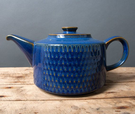 teapot danish soholm pottery mid century vintage retro collectible blue brown scandinavian kitchen