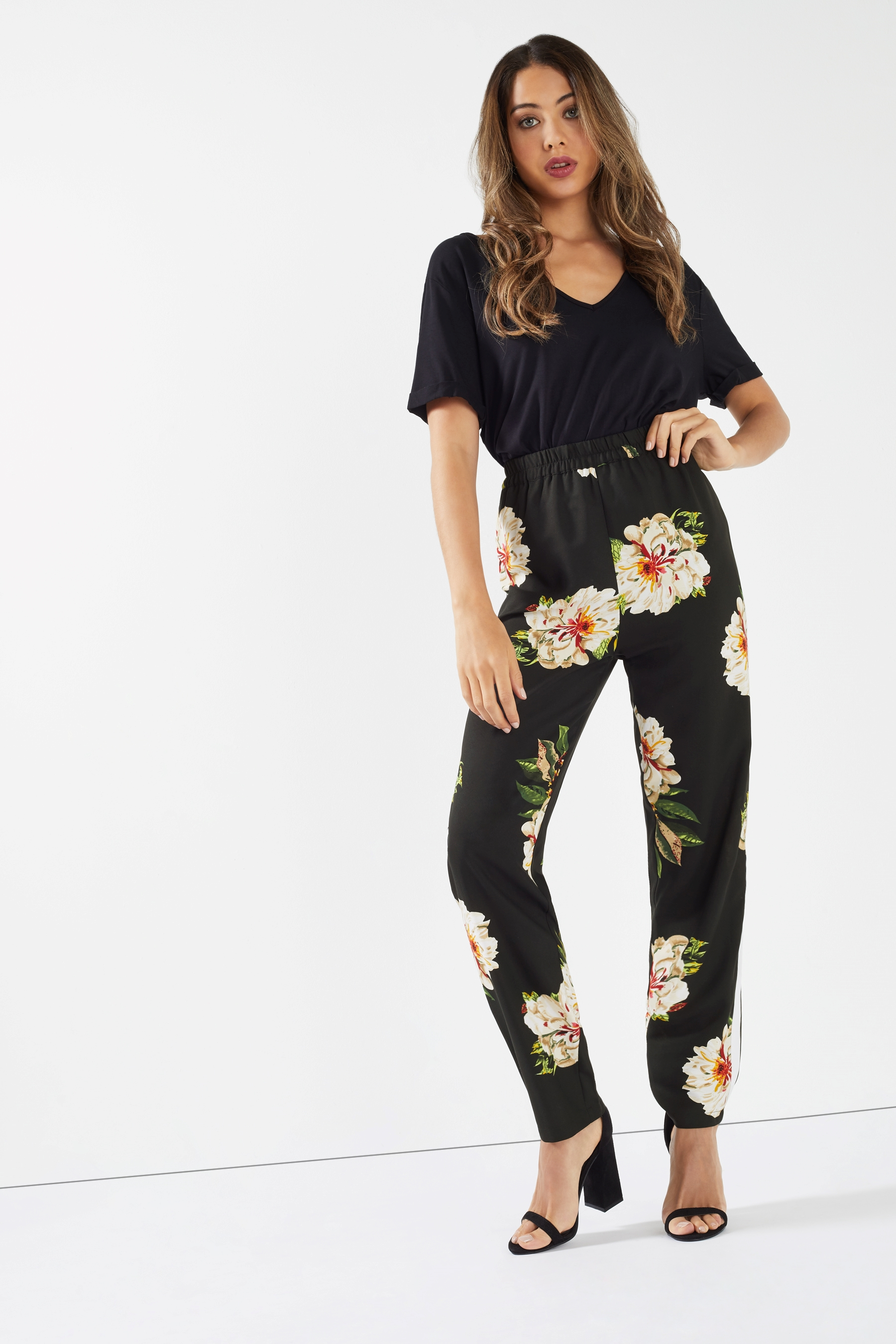 2709dc1f99e3 Womens Boohoo Floral Print Side Stripe Trousers - Black   Products ...