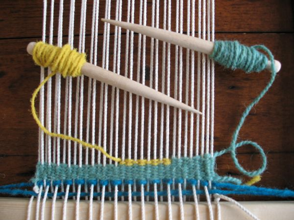 A Weft Yarn Is Then Woven Under And Over The Warp Yarn Using A