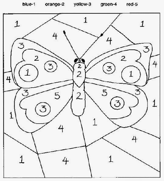 Color By Number Sheets Butterfly Coloring Page Kindergarten Colors Numbers For Kids