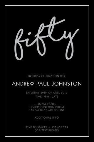 50th birthday party invitation digital printable template elegant 50th birthday party invitation digital printable template elegant fifty filmwisefo