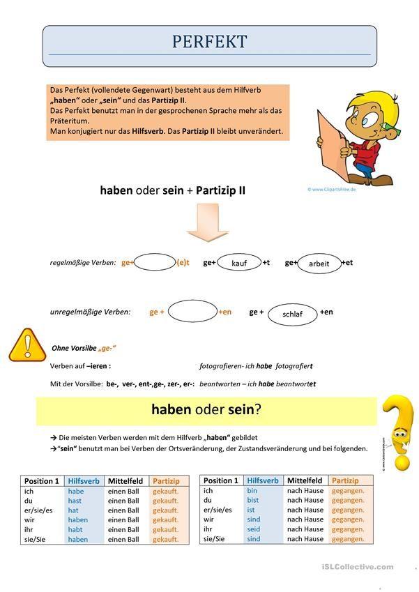 Perfekt - Regel haben und sein | German, Deutsch and German language