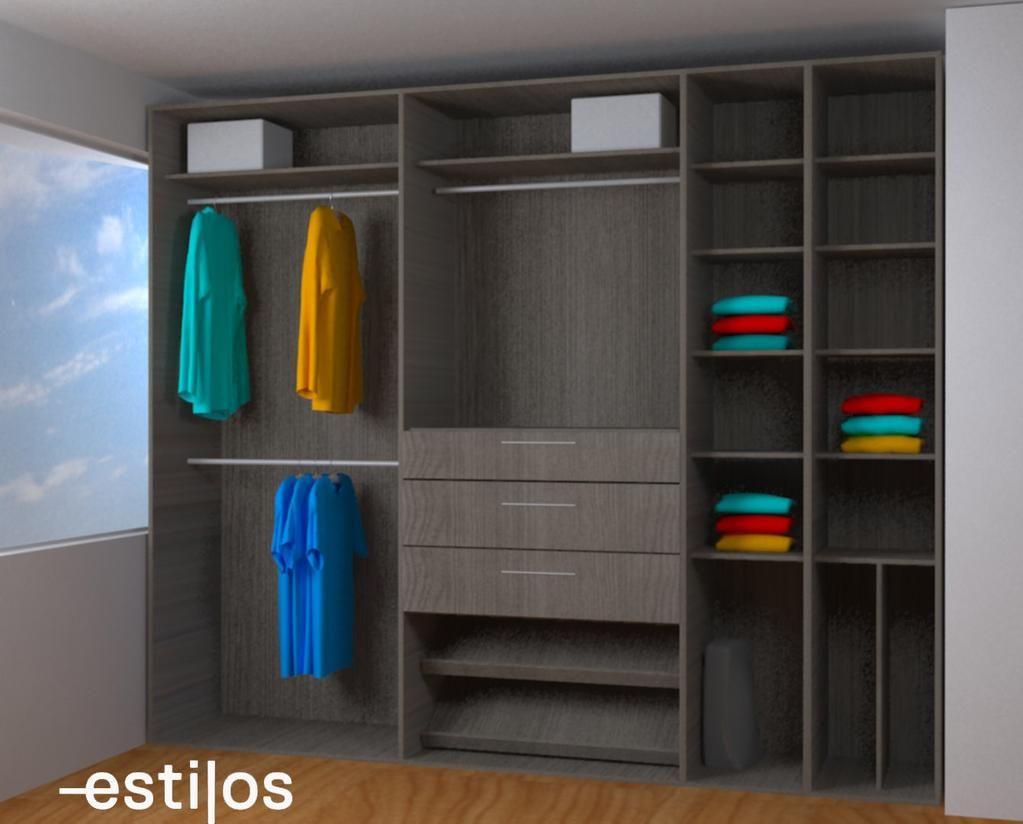 Dise o de closet en nogal urbano para ni o closets for Diseno zapateras para closet