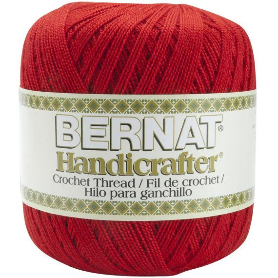Perfect Red Acrylic Crochet Thread Size 5 Bernat Handicrafter