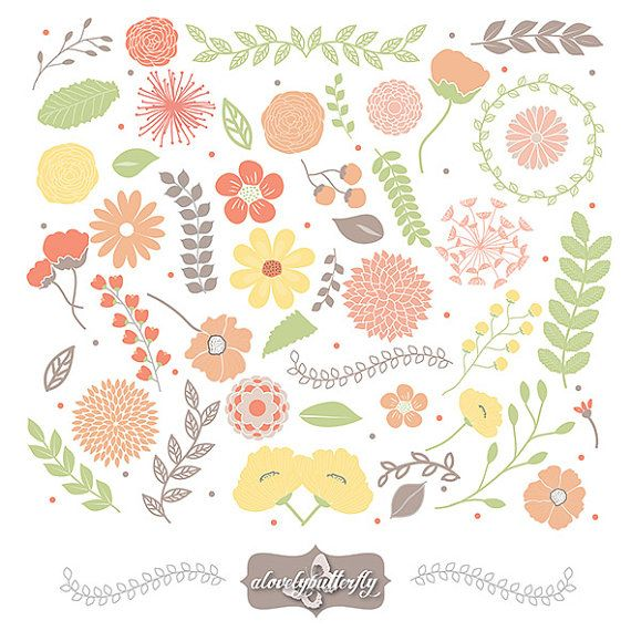 Items Similar To Rustic Wedding Flower Clipart Orange Green Brown Shabby Chic Invitation Mum Paeonia On Etsy