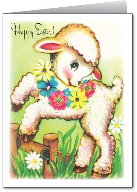 Image Detail For Vintage Easter Lamb Card
