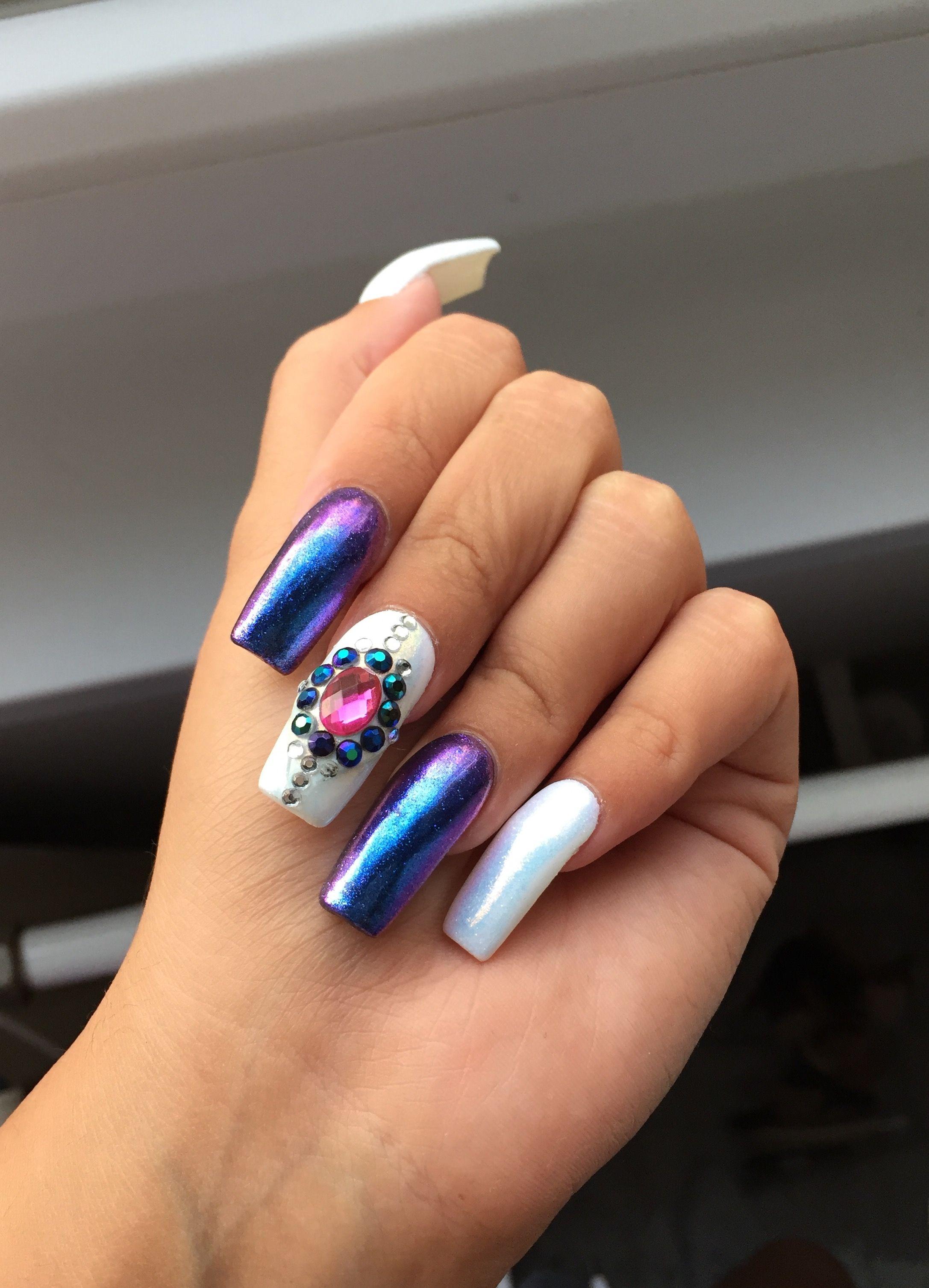 nails #crystals #beauty #chrome #mermaid #aurora #blue #purple ...