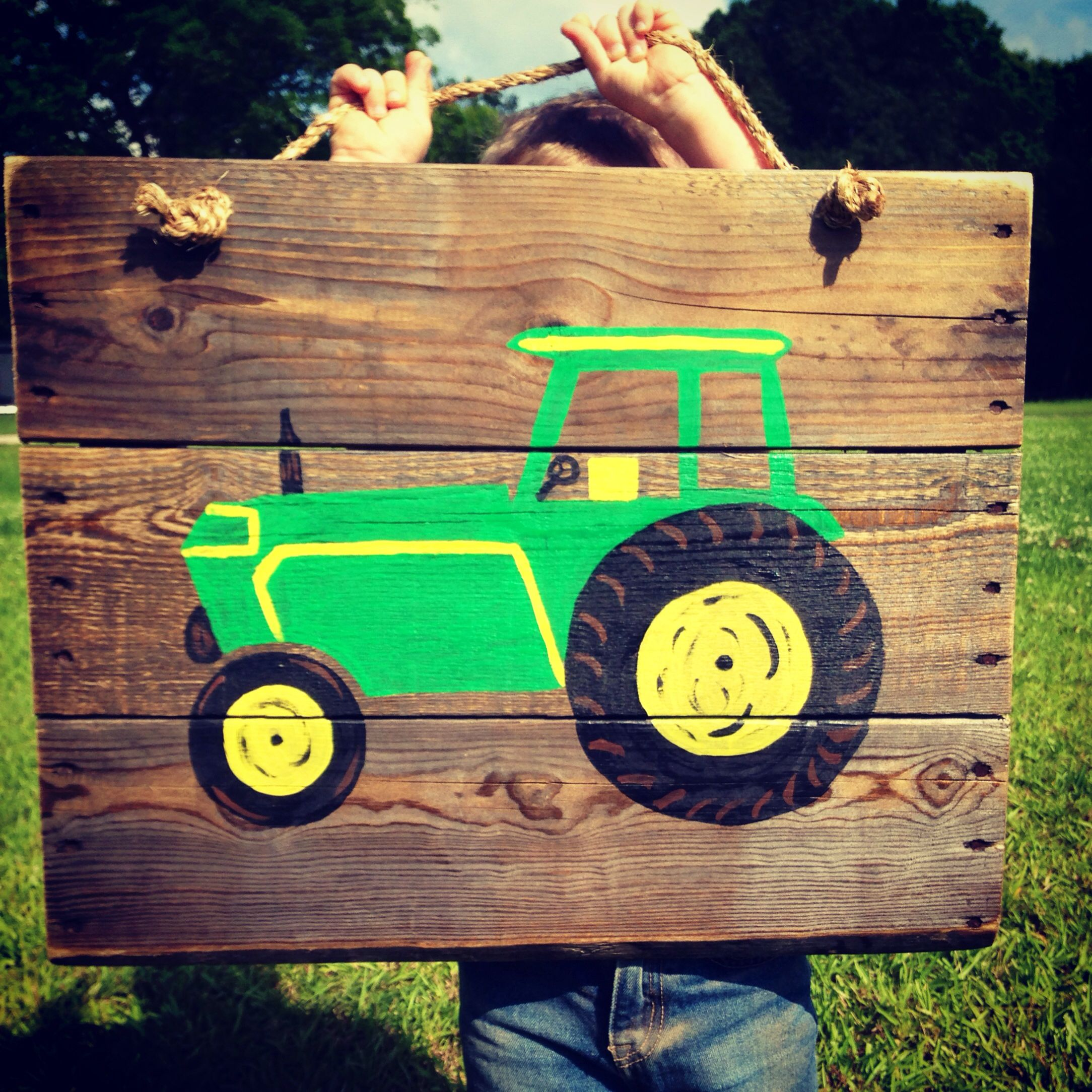 Hand Painted Pallet Reclaimed Wood John Deere Tractor Sign