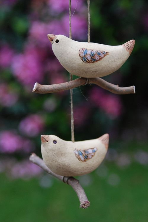 Keramický ptáček - na zavěšení