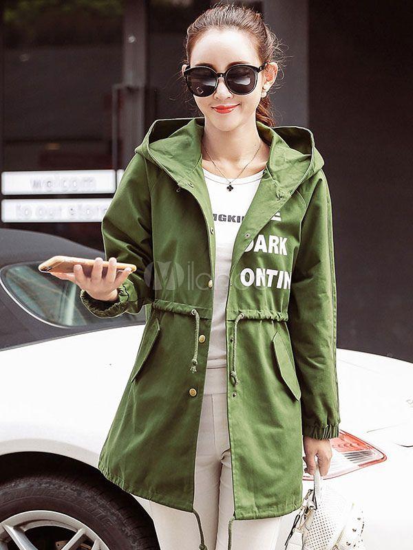 Hooded Women's Coat Printed Drawstring Waist Medium Slim Fit Lightweight Jacket And Coat