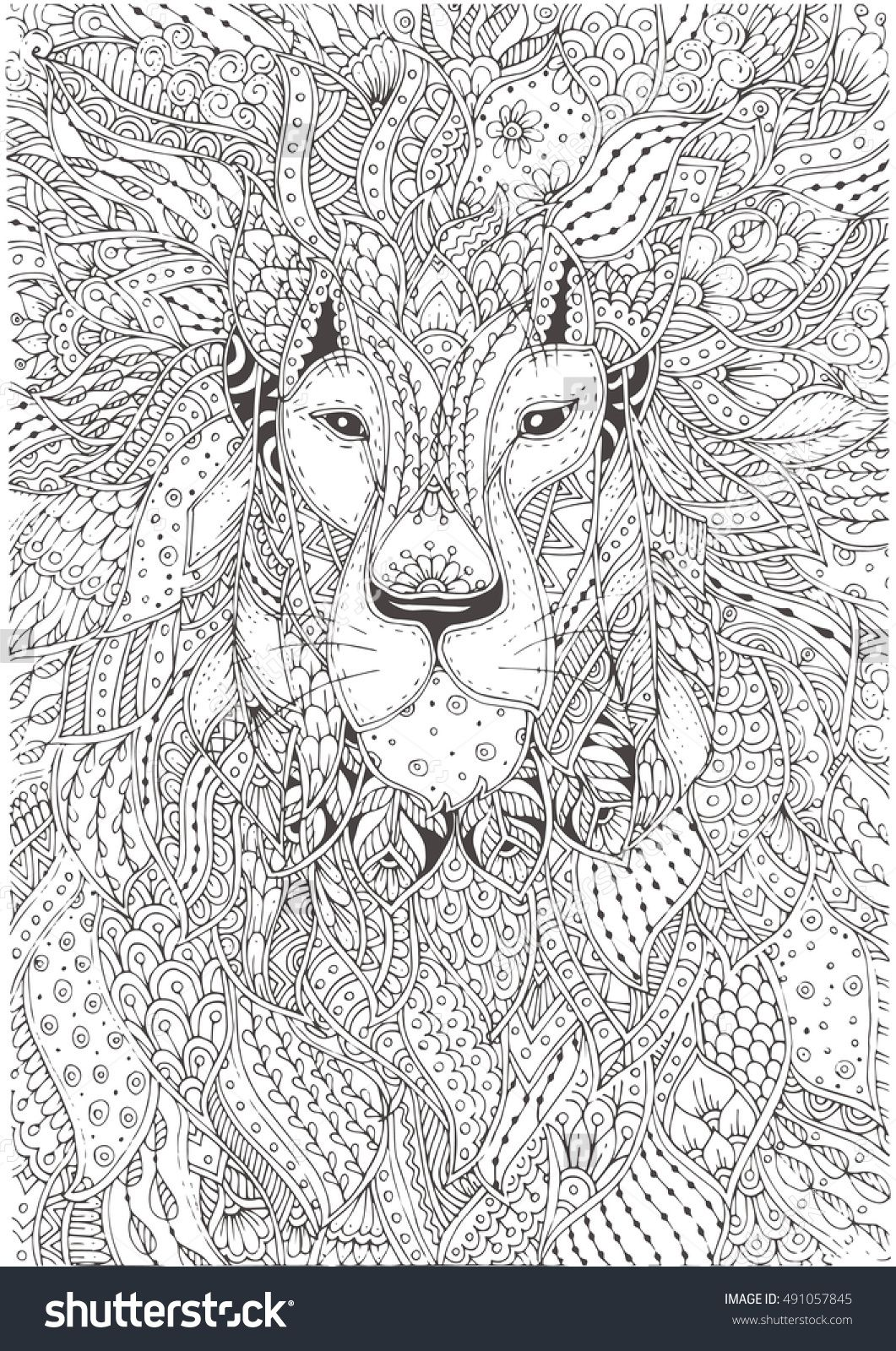 Hand-Drawn Lion With Ethnic Floral Pattern. Coloring Page - Zendala ...
