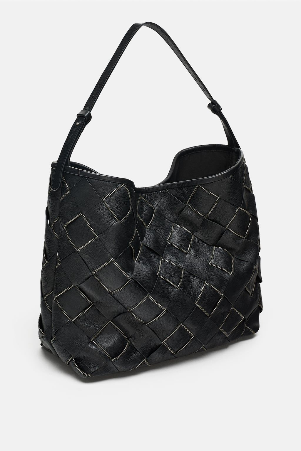 Image 1 of WOVEN LEATHER BUCKET BAG from Zara  d3a7a82991974