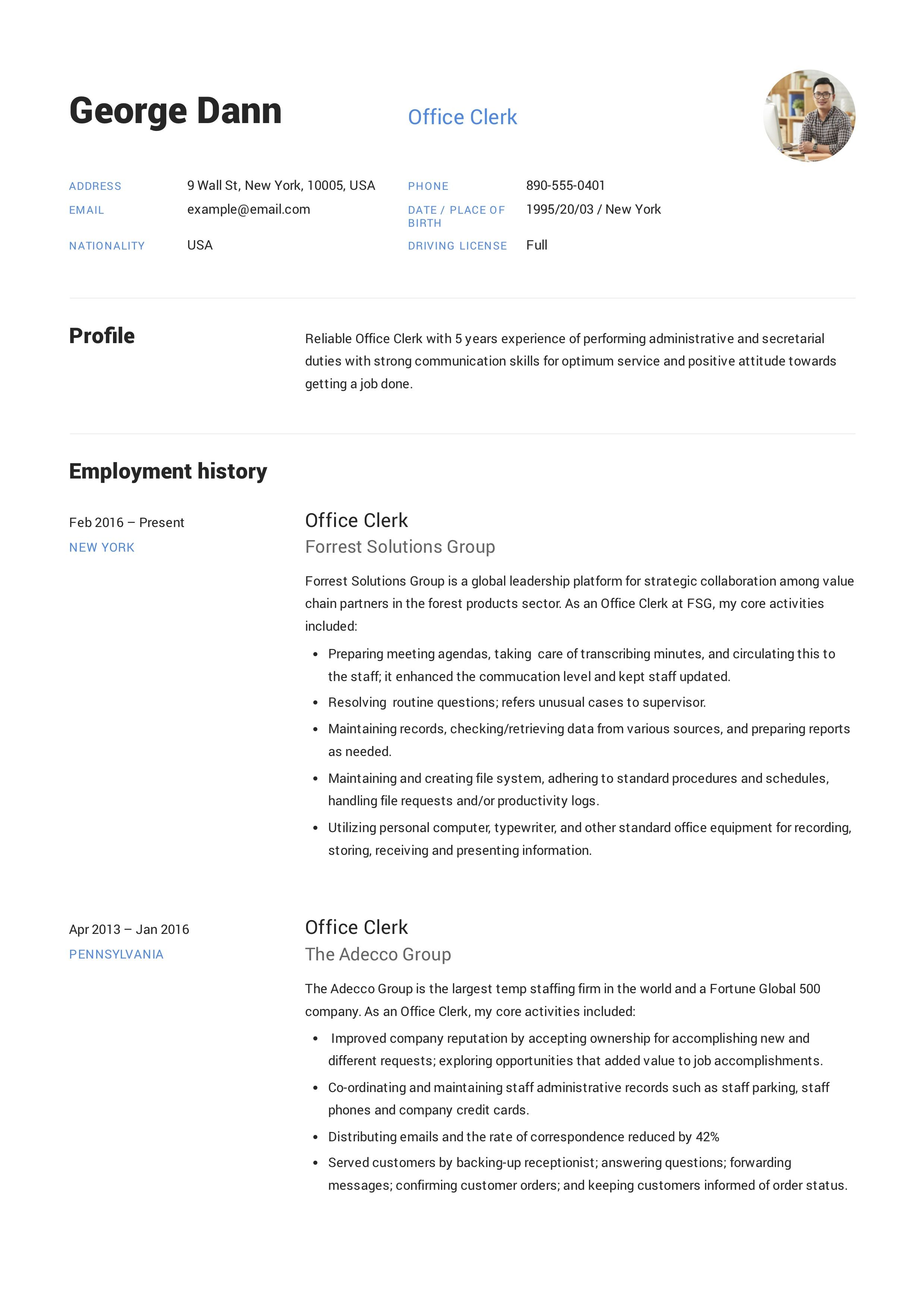 Office Clerk Resume Job Resume Examples Resume Guide Job Resume