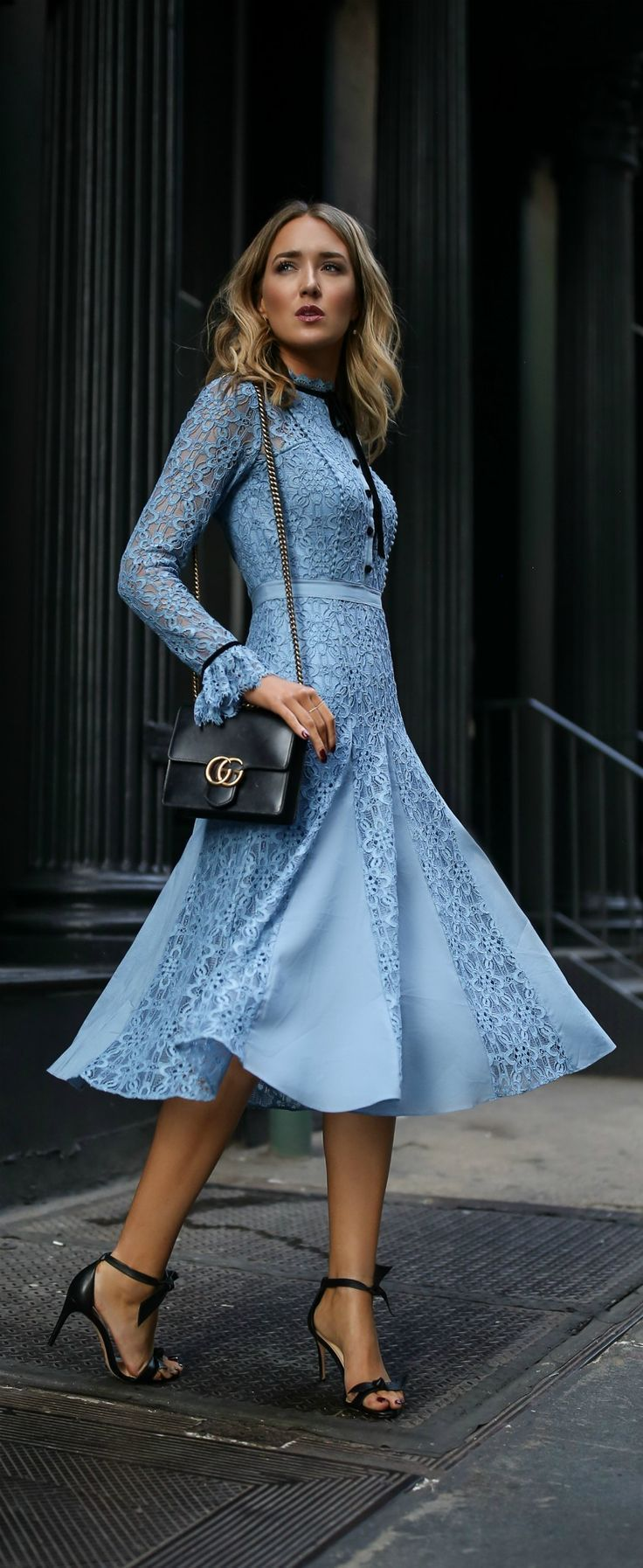 Click for outfit details! // Blue lace dress, black ankle strap bow ...
